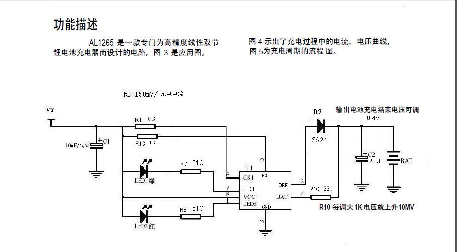 电池充电器控制电路; 高于 1%的电压精度; 恒定电流充电,充电电流可调