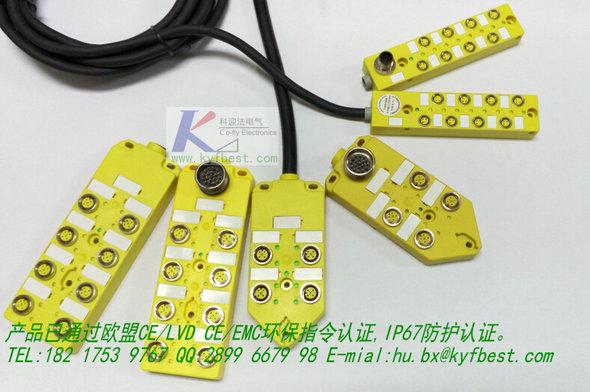 科迎法I/O集线器,直接预制出现,线缆长度可按照实际需要发货。,现场接线快速便捷。具有现场诊断功能,LED 可显示I/O状态。可提供4路/8路的单信号和双信号分配器,8路双信号分线盒可外接16个传感器。外接传感器信号PNP或NPN可选。提供用于传感或执行器连接用的各种电缆。