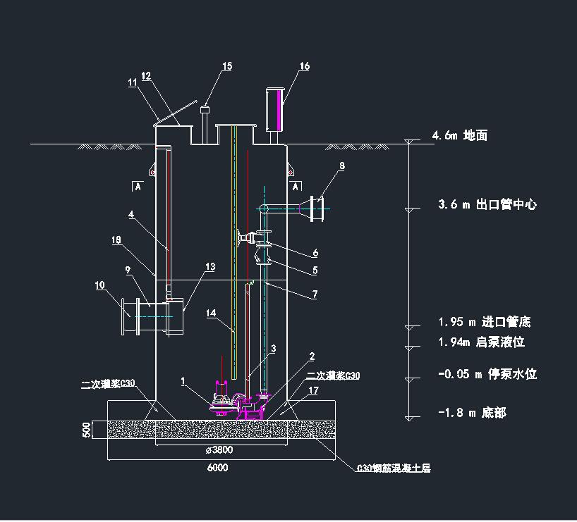 一体化污水提升泵站设计图供参考